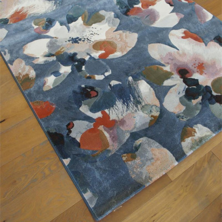 Tapis motif floral multicolore et fond bleu - 160x230cm - ARGENTUM Ragolle