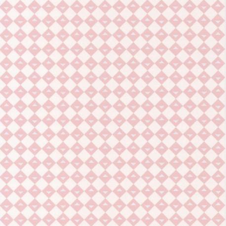 Papier peint intissé Losanges rose pastel sur fond blanc - Lutèce
