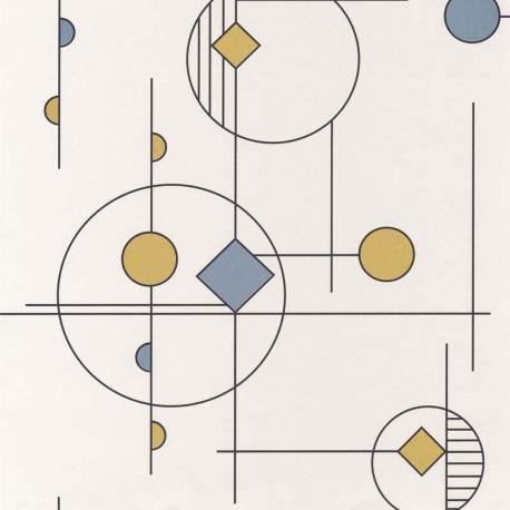Papier peint intissé STUDIO bleu, or - VISION Casadeco