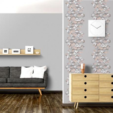 Papier peint vinyle intissé géométrique marron et rose - HEXAGONE - UGEPA