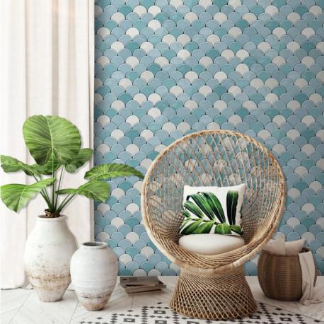 Papier peint vinyle géométrique, motif écaille bleu - HEXAGONE - UGEPA