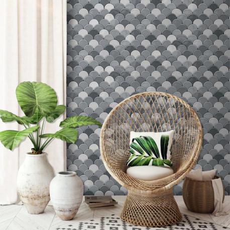 Papier peint vinyle géométrique, motif écaille gris - HEXAGONE - UGEPA