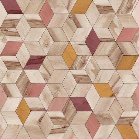 Papier peint vinyle géométrique rose effet de bois - HEXAGONE - UGEPA