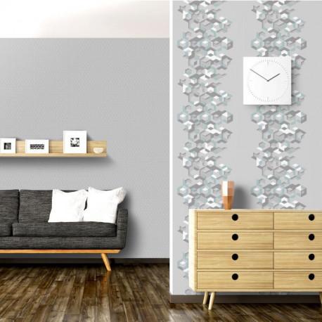 Papier peint vinyle intissé géométrique bleu et gris - HEXAGONE - UGEPA