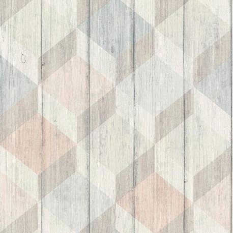 Papier peint à motif Cubes bois rose et bleu pastel - Collection INSPIRATION WALL - GRANDECO