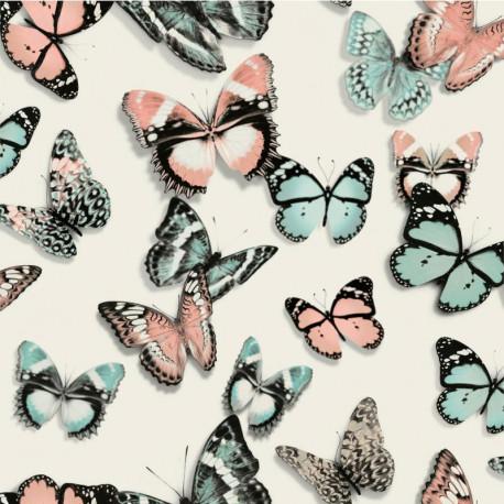 Papier peint vinyle trompe l'oeil Papillons bleus et rose - FAUX SEMBLANT - UGEPA
