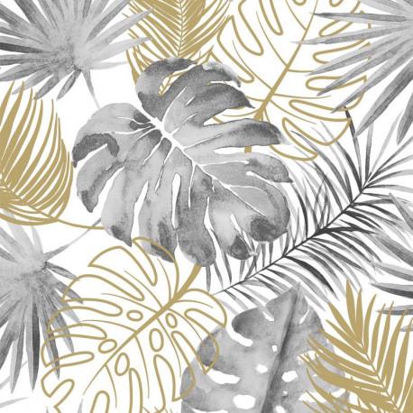 Papier peint Palmes Jungle - gris et or - ESCAPADE Ugepa