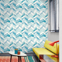 Papier peint à motif Chevrons bleu - INSPIRATION WALL - GRANDECO