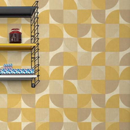 Papier peint à motif Hélice jaune moutarde - INSPIRATION WALL - GRANDECO