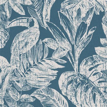Papier peint Tropical Toucan - bleu paon - Myriad GRANDECO Life