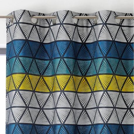 Rideau à œillets bleu, jaune et gris - Gabin - Linder