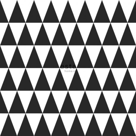 Papier peint intissé enfant Triangles géométriques noir - Little Bandits - ESTA HOME