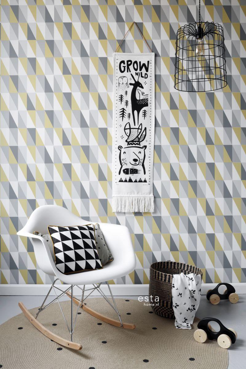 Decoller Papier Peint Intissé papier peint enfant triangles jaune ocre et gris - little