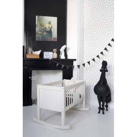 Papier peint enfant noir et blanc à petits points - Little Bandits - ESTA HOME