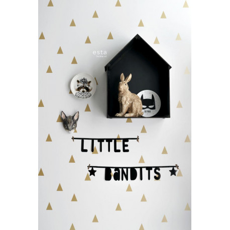 Papier peint enfant or brillant et blanc à motif Triangles - Little Bandits - ESTA HOME