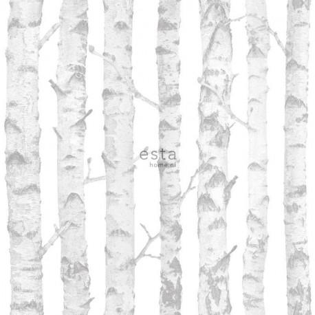 Papier peint enfant argent et blanc à motif Troncs de bouleau - Little Bandits - ESTA HOME