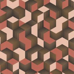 Papier peint intissé DENZO Cubic rose terra cotta - Rasch