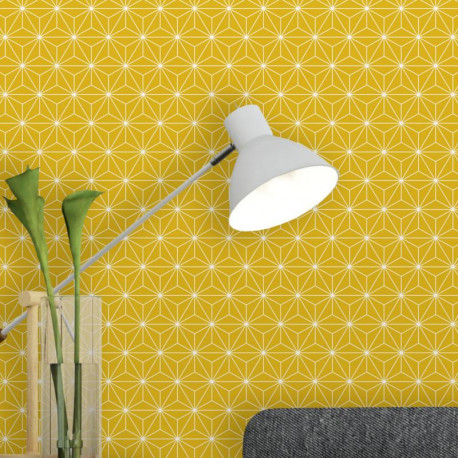 Papier peint pailleté Origami jaune moutarde - Ugepa