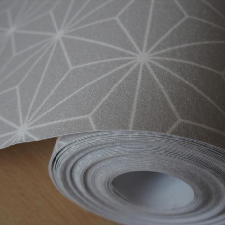 Papier peint pailleté Origami gris et motif blanc - Ugepa