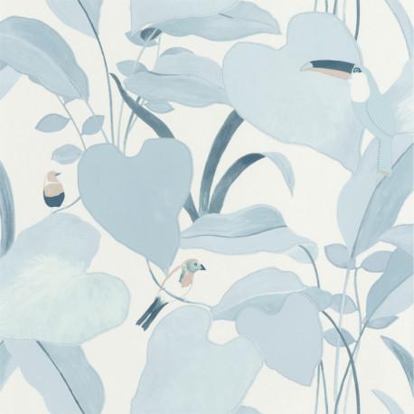 Papier peint Amazonia bleu doux et argent - L'ODYSSEE - Caselio
