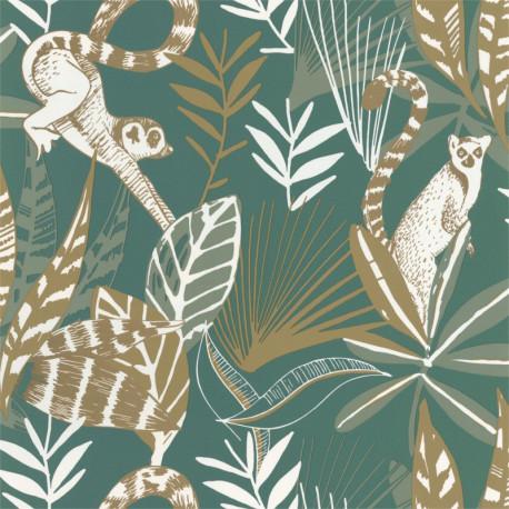 Papier peint Madagascar vert émeraude et doré - L'ODYSSEE - Caselio OYS101407800