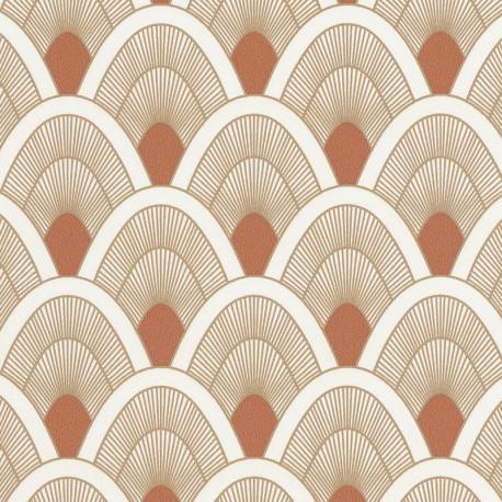 Papier peint Mayotte terracota et doré - L'ODYSSEE - Caselio OYS101453131