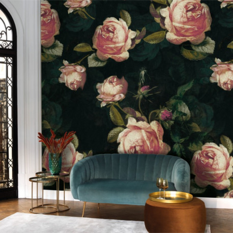 Panoramique ENGLISH ROSES noir et rose - Beauty Full Image par Casadeco