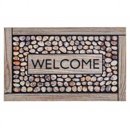 Paillasson caoutchouc recyclé extérieur RESIDENCE Welcome Framed pebbles - Hamat