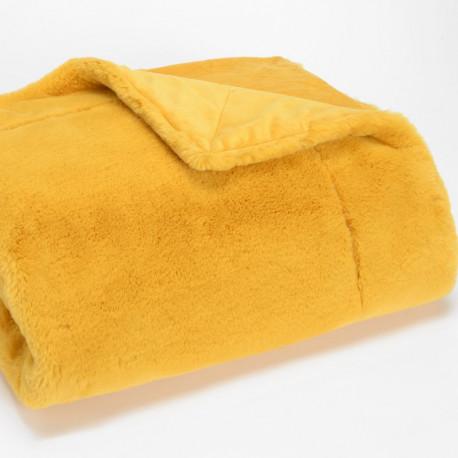 Plaid Luxe moutarde tout doux - 130x170cm - Amadeus