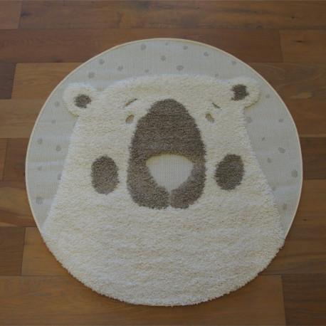 Tapis rond tête d'ours écru et taupe - Diamètre 120cm - RICHIE