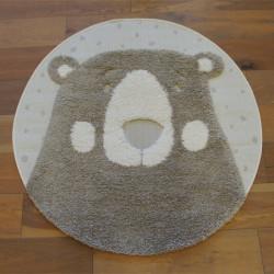 Tapis rond tête d'ours taupe - Diamètre 120cm - RICHIE