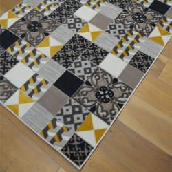 Tapis corde et poil ras Patchwork carreaux de ciment jaune et gris - 120x170cm - FLOW