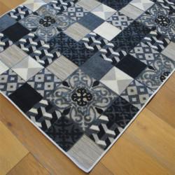 Tapis corde et poil ras Patchwork carreaux de ciment noir et gris - 120x170cm - FLOW
