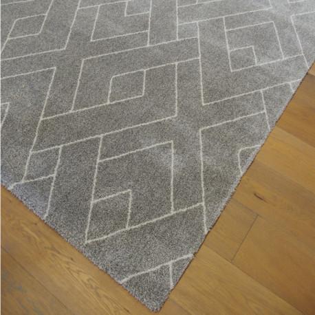 Tapis tout doux PEPPER gris taupe à motif berbere écru - 200x290cm