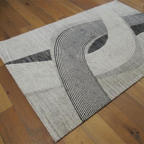 Tapis tout doux SIROC gris à motif spirales Art Déco - 160x230cm