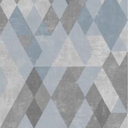 Papier peint Kaléidoscope à motifs losanges gris bleu - HEXAGONE - UGEPA