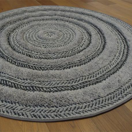 Tapis rond corde et shaggy Ethnique gris et noir - 160cm - RITUAL