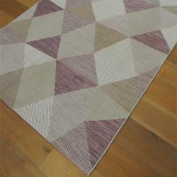 Tapis corde moderne Géo rose et beige - PRISMA - 140x200cm