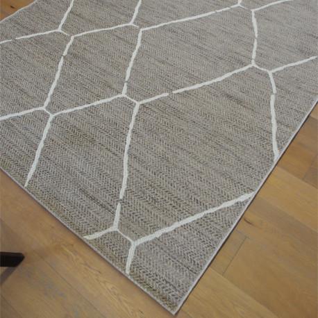 Tapis cordes tressées à motif berbère écru et taupe - 200x290cm - INDY