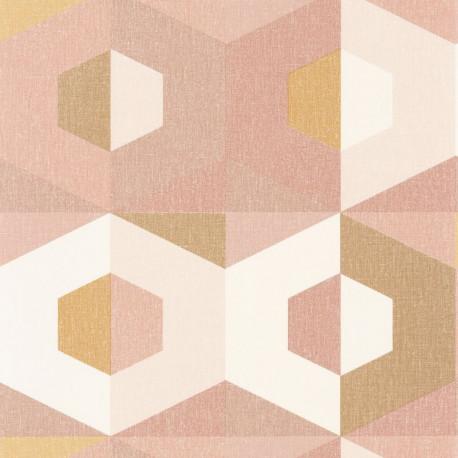 Papier peint Pop ocre, rose, doré - MOOVE - Caselio MVE101374109