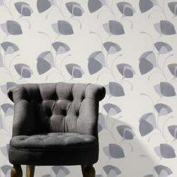 Papier peint Flower Eventail gris pailleté - ERISMANN