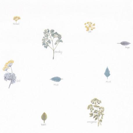 Papier peint bouquet garni bleu - Au bistrot d'Alice - Caselio