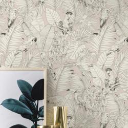 Papier peint Madagascar Tropical rose pastel - Rasch