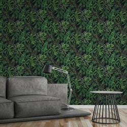 Papier peint Jungle night bananier noir vert - Greenery - AS CREATION