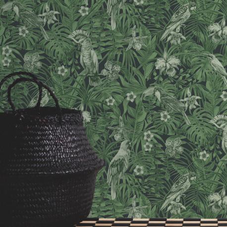 Papier peint Jungle perroquets noir vert 372101 - Greenery - AS CREATION