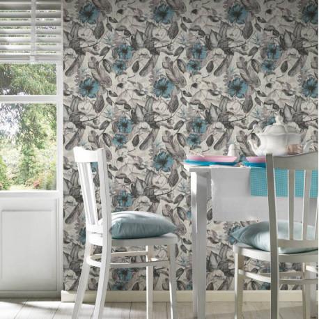 Papier peint Fleurs blanc, bleu, gris, noir  372162 - Greenery - AS CREATION