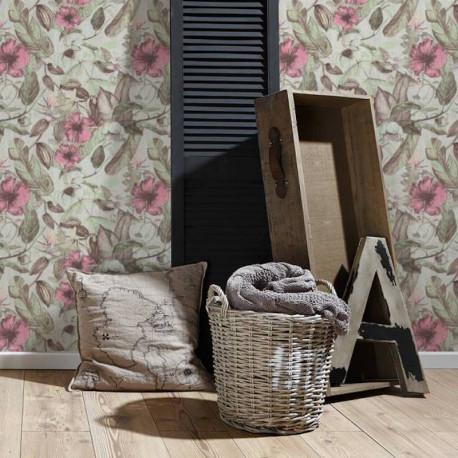 Papier peint Fleurs crème, gris, rose, marron  372164 - Greenery - AS CREATION