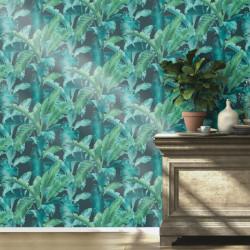 Papier peint intissé Barbara Home Collection feuillage bleu vert - Rasch