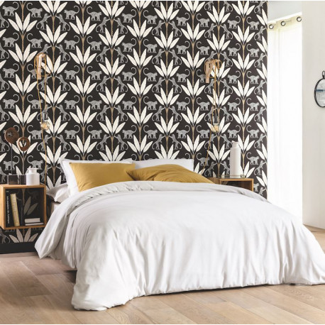 Papier peint Monkey Forest Noir Blanc Or Fond Noir -MOONLIGHT- Caselio MLG101179029