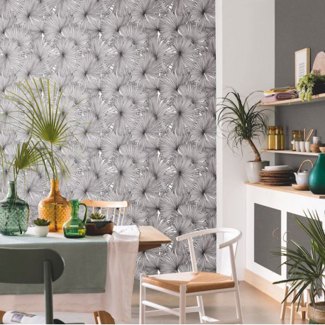 Papier peint Coconut Noir blanc -MOONLIGHT- Caselio MLG101249000